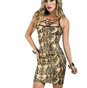 Mapale dress style 4384 in Brown Snake Print